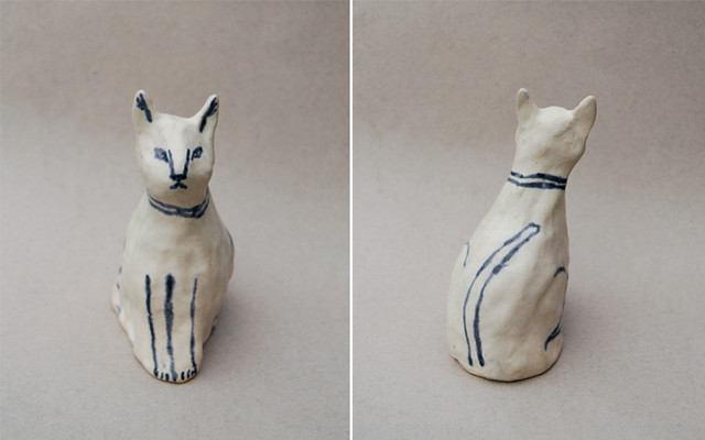 ceramic cat front and back