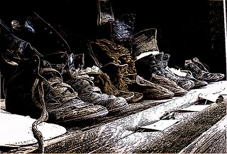 Children's Shoes ink sketch effect