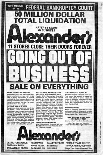 Alexander's Final Sale, Full Page Ad, NY Daily News
