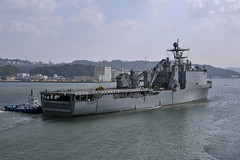 USS Tortuga (LSD 46) departs Sasebo Jan. 14 for a Western Pacific patrol. (U.S. Navy photo by Mass Communication Specialist 2nd Class Adam M. Bennett)