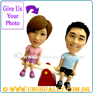 Unusually Custom 3D Sweet Lovely Sea-Saw Couple Figurines - @www.unusually.com.sg
