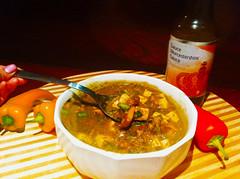 Fresh Choy & Mushroom Soup with Chunky Tofu