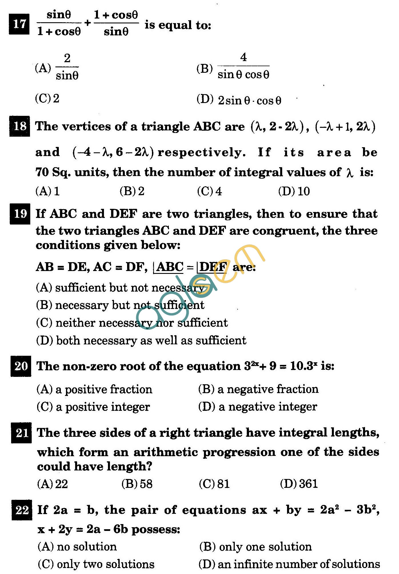 NSTSE 2011 Class X Question Paper with Answers - Mathematics