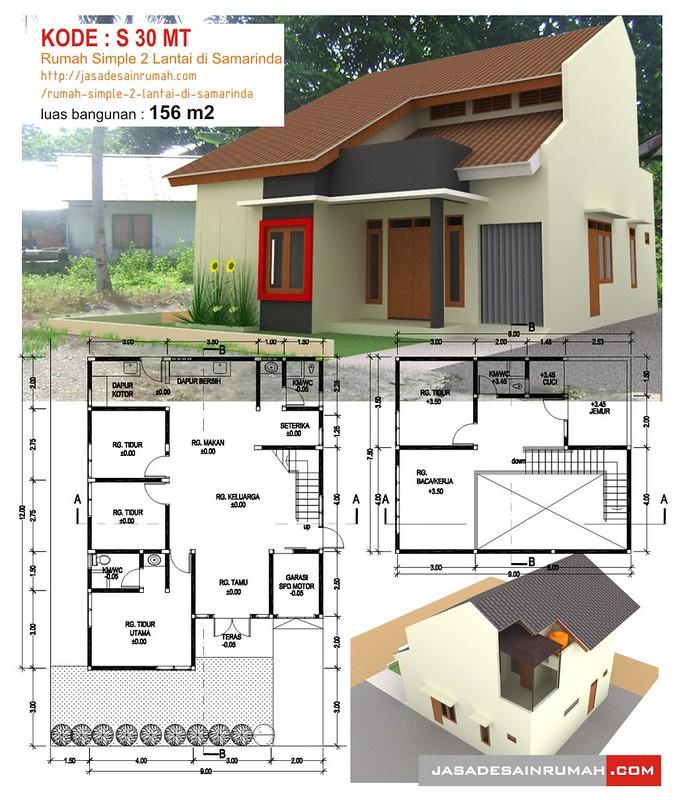 rumah simple 2 lantai di samarinda jasa desain rumah