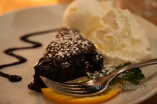 Warm chocolate brownie dessert