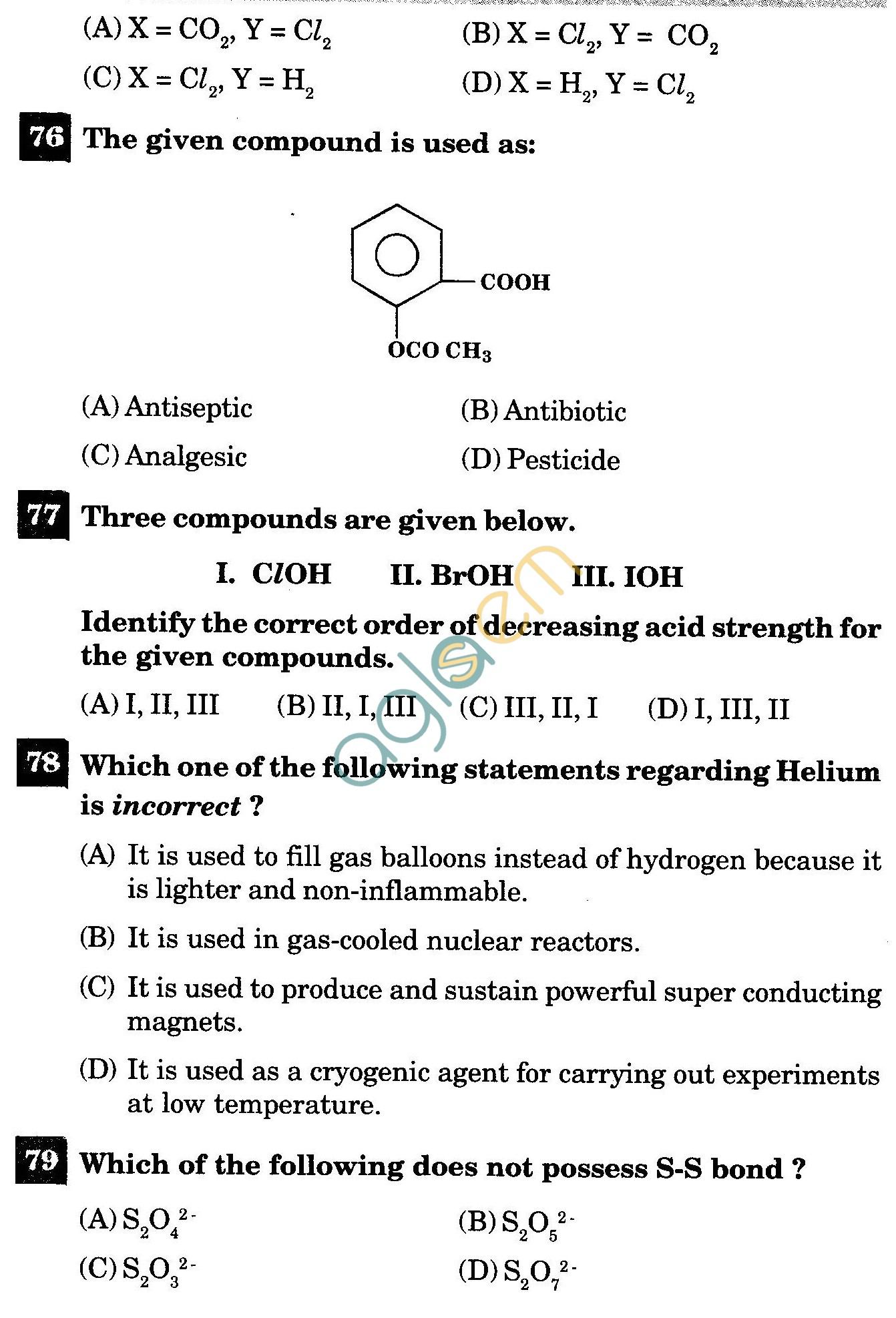 NSTSE 2011 Class XII PCB Question Paper with Answers - Chemistry
