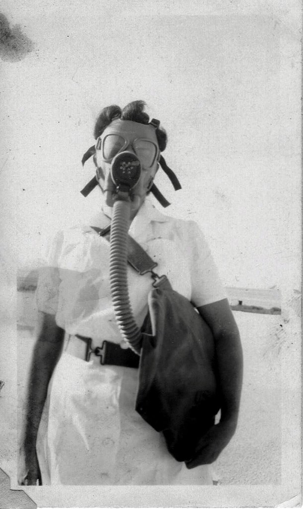 Gas Mask Nurse WWII WAC