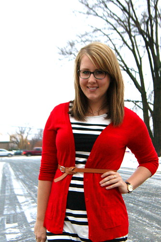 Red Cardi + Striped Dress