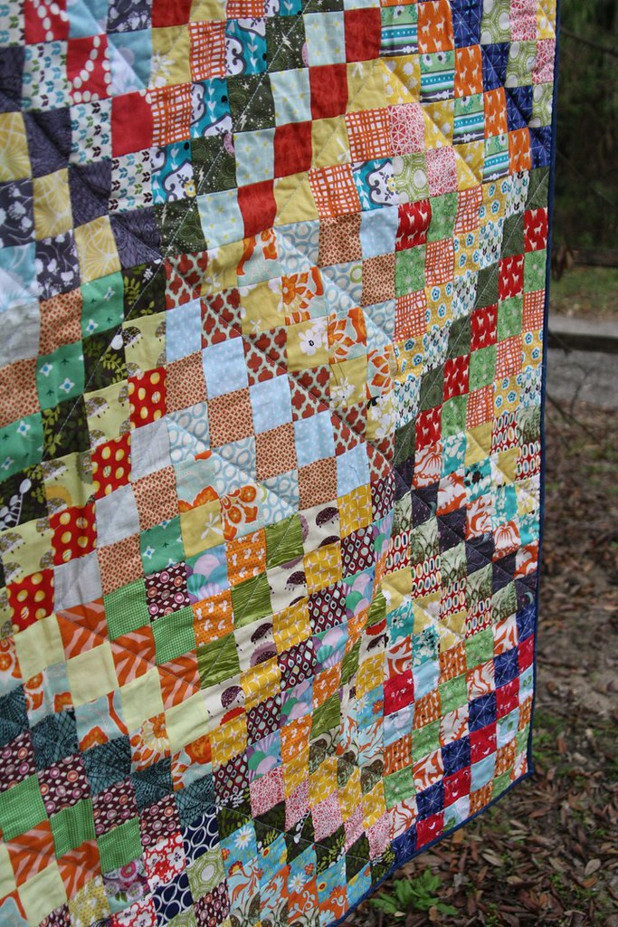 Scrappy trip quilting detail