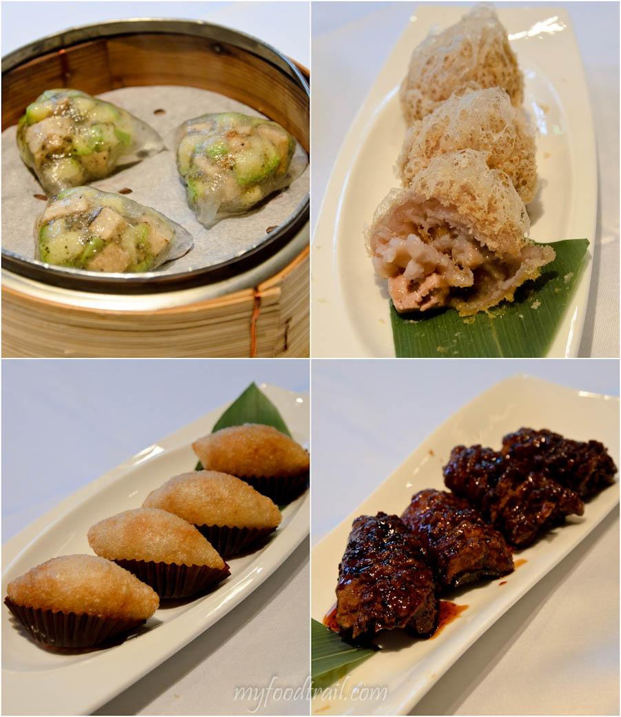 Cuisine Cuisine, The Mira, Hong Kong - Mushroom & truffle dumpling, wu kok with foie gras, osmanthus eel, crescent dumpling