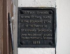 St Leonard's Shoreditch Parish boundary marker at  294 Kingsland Road