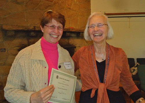 Margaret recently receiving her Certificate from Capacitar