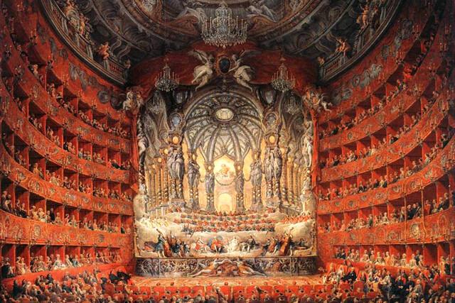 Detail of Giovanni Paolo Panini, Fête musicale donnée par le cardinal de La Rochefoucauld au théâtre Argentina de Rome en 1747 à l'occasion du mariage du Dauphin, fils de Louis XV (1747)