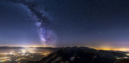 appenzell rhine valley hoherkasten milkyway panorama night nightshot switzerland stars starry