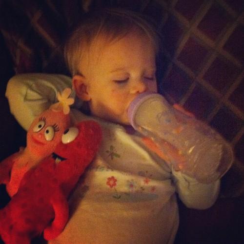 Bedtime prerequisites: bottle & Yo Gabba Gabba dolls.