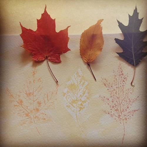 Stamping with leaves #art