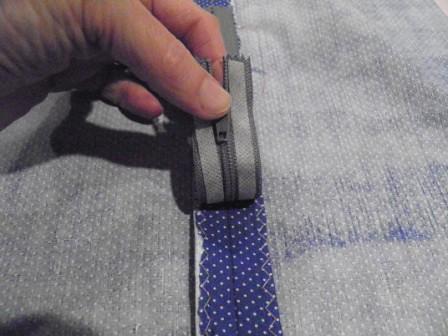 Wonder taped zipper placed in seam