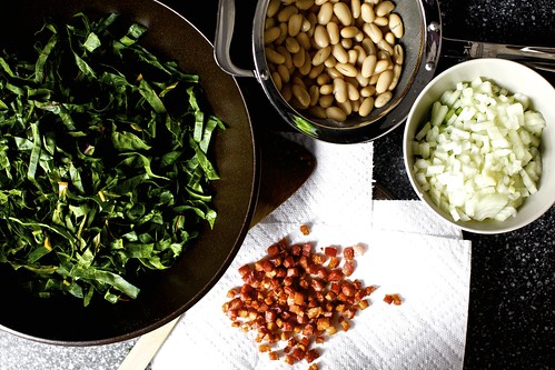 pancetta, chard and bean pot pie prep
