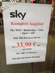 sky Komplett-Angebot 33,90 Euro (Saturn Bochum)