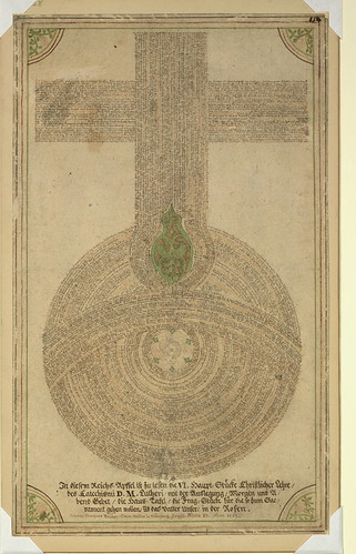 Single leaf with Lutheran devotional design, Orb of the Empire created through devotional writing, Walters Manuscript W.728, fol. W.728r by Walters Art Museum Illuminated Manuscripts