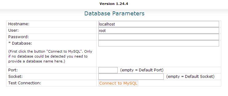 Nhập thông tin đăng nhập database của localhost