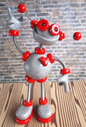 Commission: Robot Sculpture Silver and Red Jen by HerArtSheLoves