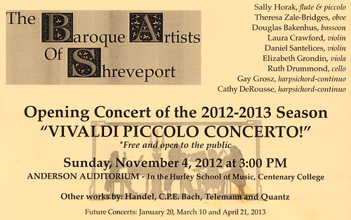 Baroque Artists, Shreveport: concert 11.04.12, Hurley by trudeau