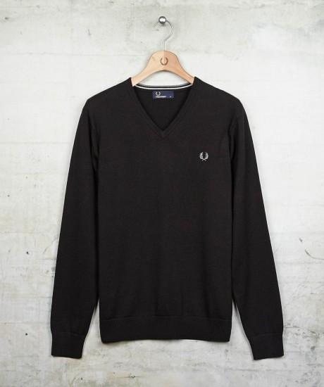 Merino/Cotton V-Neck in Black