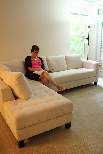 Mom on our New Sofa