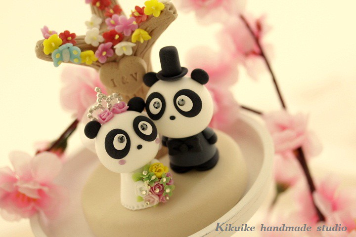 Handmade Lovely And Cute Panda With Flower Tree Wedding Ca Flickr