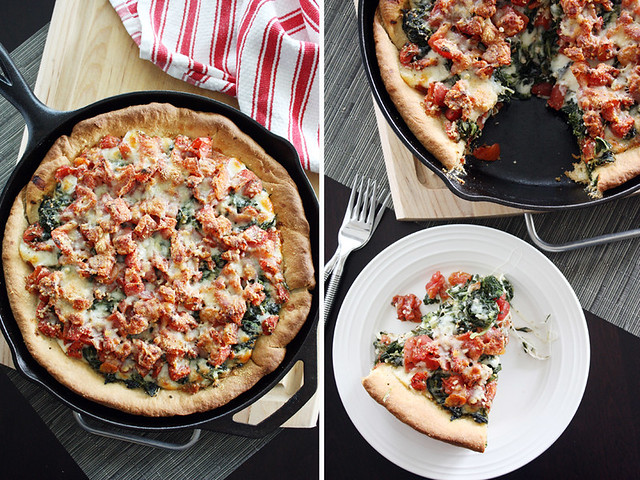 spinach + tomato pizza.
