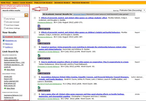 Screen shot of a search results page