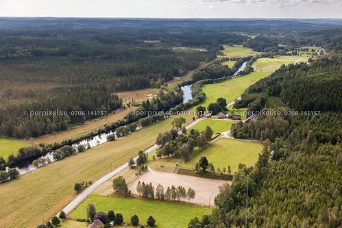 sverige swe västragötaland klev ätran flygfoto mårdaklev