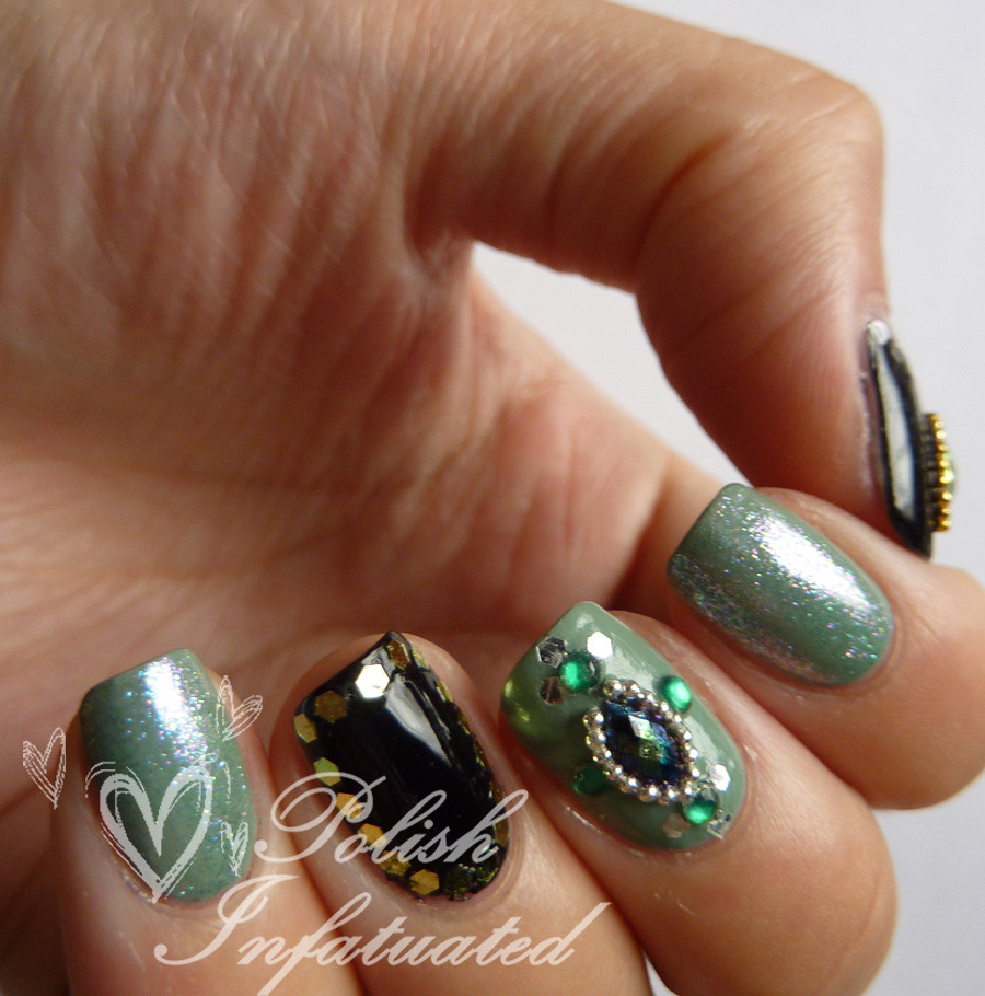 green jewelled nails4