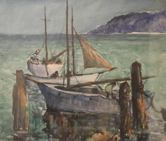 vehicle, ship, galley, painting, watercraft, boat, watercolor paint,