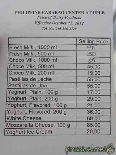 Price List of Dairy Corner of Philippine Carabao Center