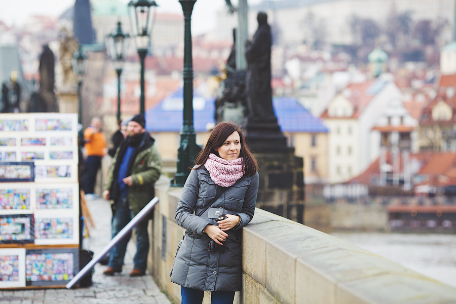 admiring the beauties of Prague