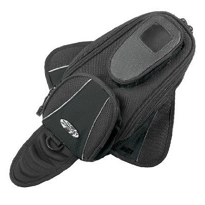 Motorcycle Magnetic Map Pocket Expandable Tank Bag Water resistant reflective piping Cell phone pocket Blk New