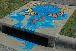 Picture of storm drain art with water and butterflies - Wishing Well