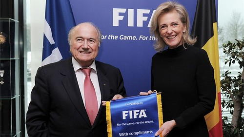 HRH Princess Astrid of Belgium, Special Representative of RBM, meets with Mr. Sepp Blatter, President of FIFA