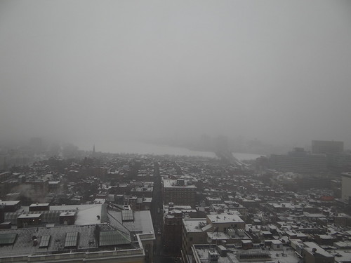 Snowing in Boston; Cambridge obscured by sarahebourne