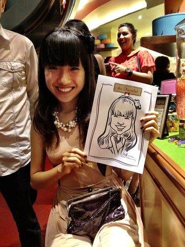 caricature live sketching for Au Chocolat Opening - 7