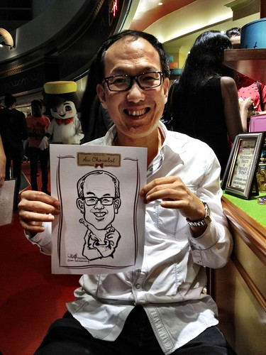 caricature live sketching for Au Chocolat Opening - 8