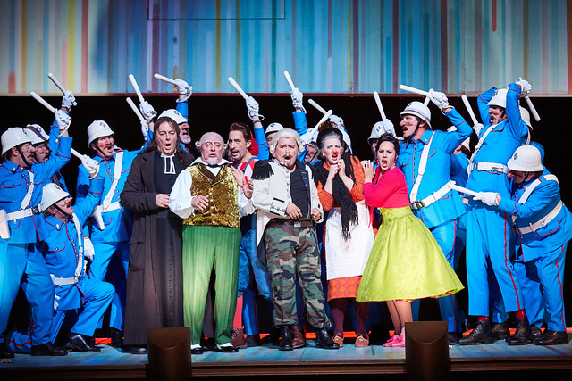 Ferruccio Furlanetto, José Fardilha, Vito Priante, Javier Camarena, Madeleine Pierard and Daniela Mack in Il barbiere di Siviglia, The Royal Opera © 2016 ROH. Photo by Mark Douet