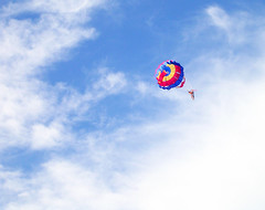 individual sports(0.0), sailing(0.0), toy(0.0), parachute(1.0), sports(1.0), parasailing(1.0), parachuting(1.0), windsports(1.0), extreme sport(1.0), water sport(1.0), sky(1.0),