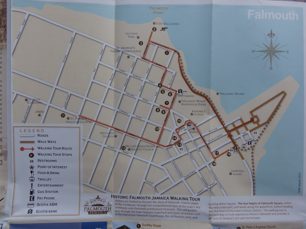Falmouth: City Map, Walking Tour Map, directions to Club Nazz ...