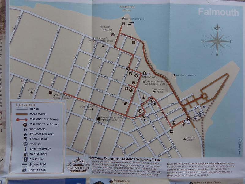 Falmouth City Map Walking Tour Map directions to Club Nazz
