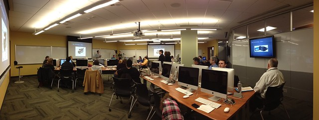 Wide shot of presenters in ITS Training Services session in Knowledge Commons.