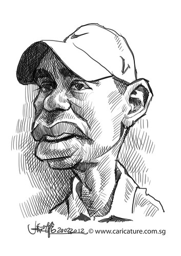 digital caricature sketch of Tiger Woods