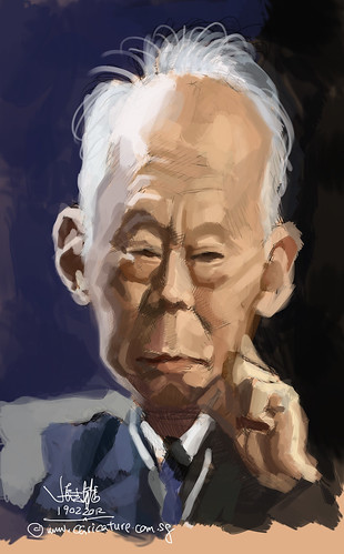 digital caricature of Lee Kuan Yew 李光耀 1